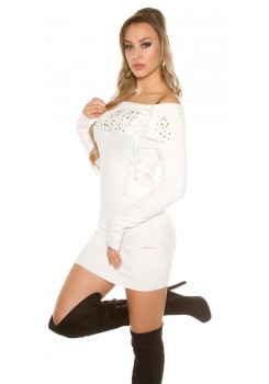 ba0e5a3af29e Svetríkové minišaty White · Trendy svetríkové minišaty s odhalenými ramenami .