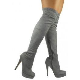 bdde4112532a Semišové čižmy nad kolená Slim Grey - Štýlové šaty