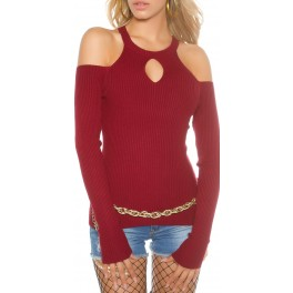 3311248baa2d Svetrík s odhalenými ramenami Wine Red - Štýlové šaty