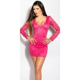 8cd1b9d7db64 Čipkované šaty s výstrihom KouCla Fuchsia - Štýlové šaty