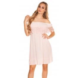 aa1ab059cae4 Voľné letné šaty s čipkou Pink - Štýlové šaty