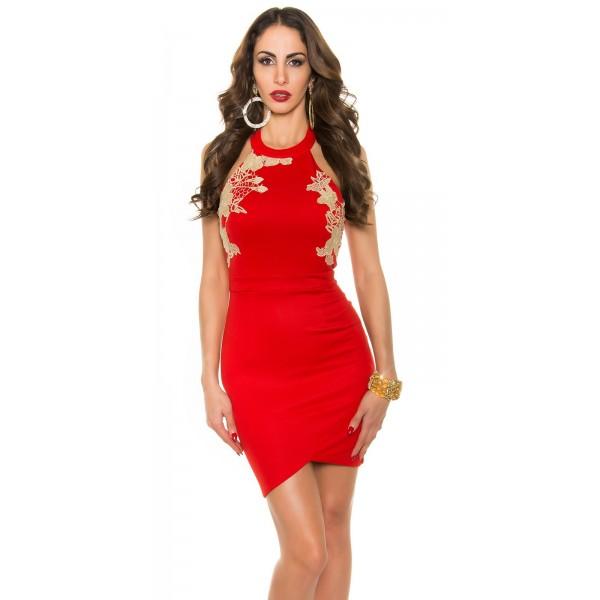 Párty šaty so zlatou čipkou KouCla party dress Red - Štýlové šaty 06e4f5cf927