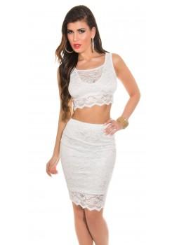 ec30ad8040a7 Čipkovaný crop top + sukňa KouCla White - Štýlové šaty