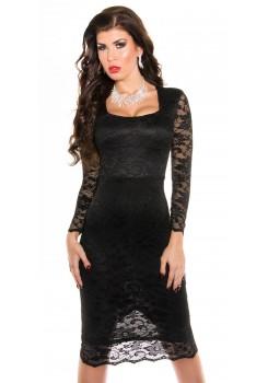 Spoločenské šaty pod kolená Black - Štýlové šaty 4e6b0cd2ec7