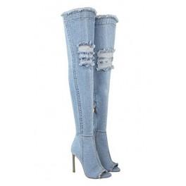 31d9f6d361 Riflové čižmy nad kolená Light Blue - Štýlové šaty